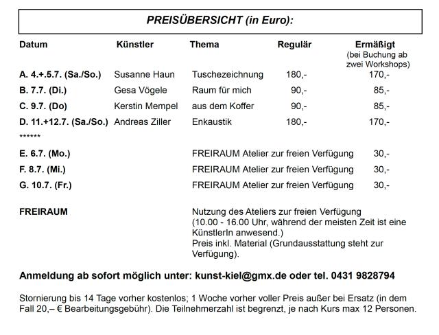 Preisübersicht Kieler Kunstsommer