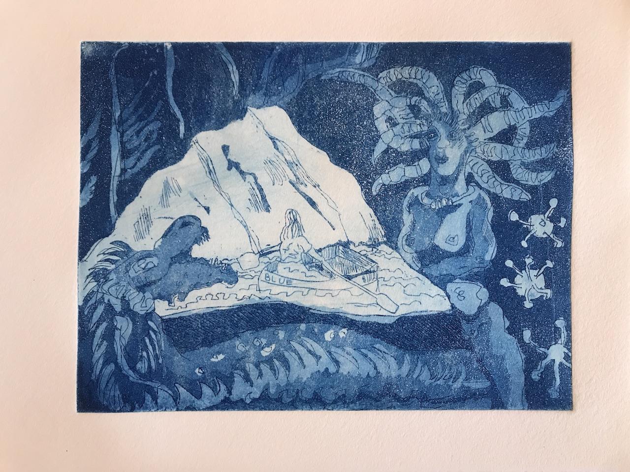 Die blaue Grotte, Version 2, 15 x 20 cm, Aquatinta von Susanne Haun (c) VG Bild-Kunst, Bonn 2020.JPG