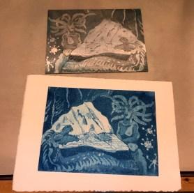 Erster Druck Aquatinta, Die blaue Grotte, Version 2, 15 x 20 cm, Aquatinta von Susanne Haun (c) VG Bild-Kunst, Bonn 2020