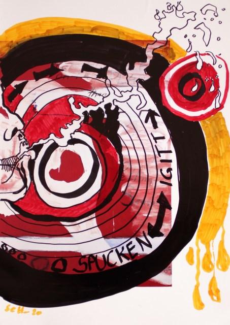 Spucke, 30,5 x 22,7 cm, Marker auf Katalog, Aneignung, Zeichung von Susanne Haun (c) VG Bild-Kunst, Bonn 2020