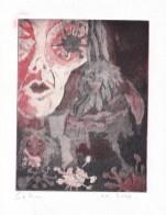 Die Traumdeuterin und Seherin, Aquatinta von 2 Platten, 20 x 15 cm, Radierung von Susanne Haun, (c) VG Bild-Kunst, Bonn 2020
