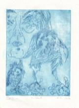 Die Traumdeuterin und Seherin, Strichätzung, 20 x 15 cm, Radierung von Susanne Haun, (c) VG Bild-Kunst, Bonn 2020