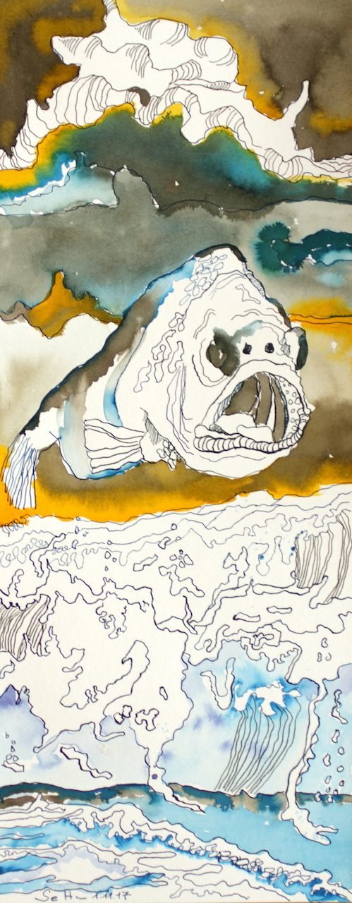 Der fliegende Fisch, 50 x 20 cm, Tusche auf Aquarellkarton (c) Zeichnung von Susanne Haun