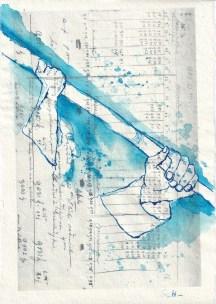Blatt 14 - Zyklus Otto Lilienthal - Zeichnung von Susanne Haun - 30 x 20 cm - Tusche auf Silberburg Bütten (c) VG Bild-Kunst, Bonn 2020