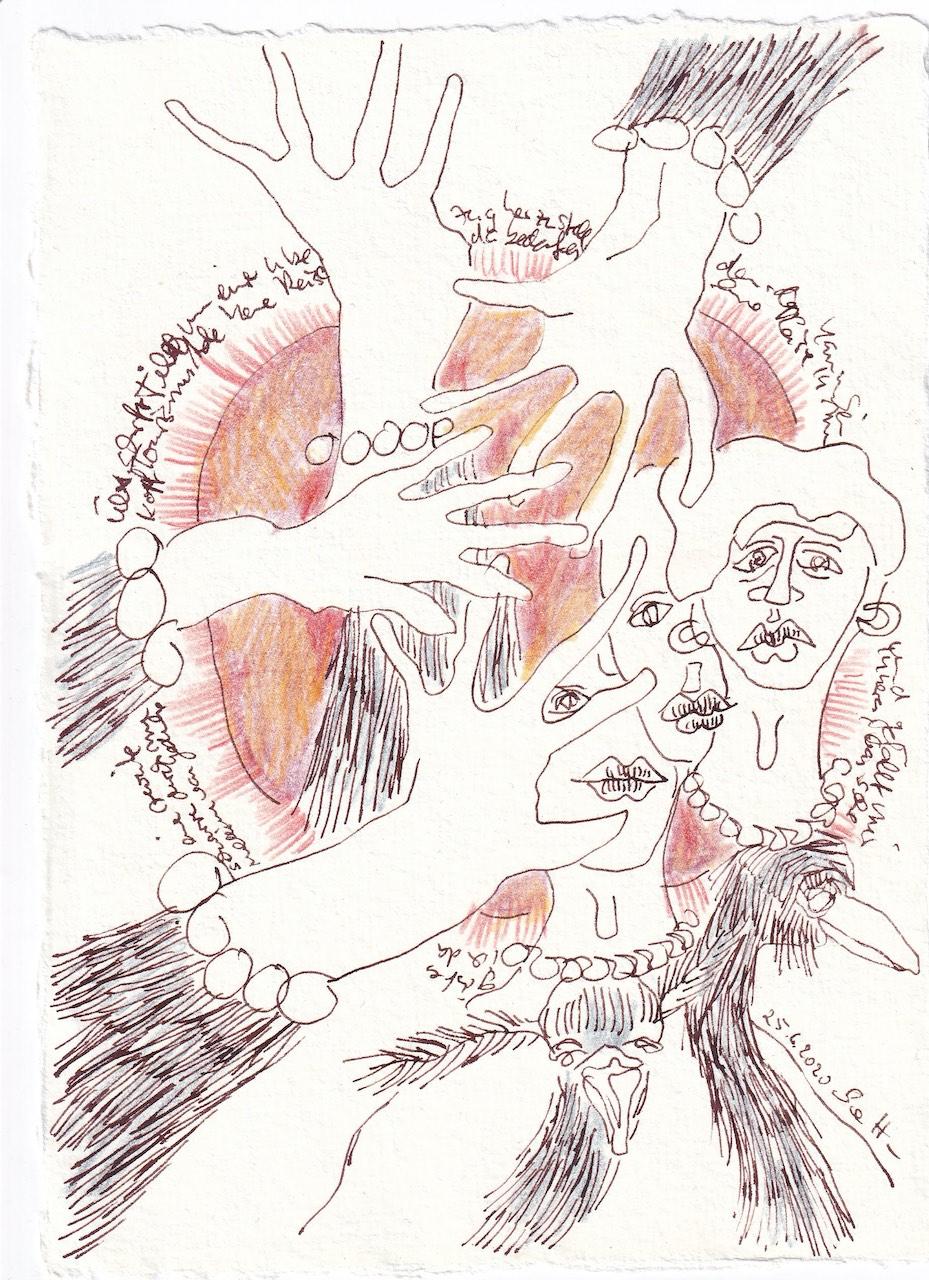 Tagebucheintrag 25.6.2020, Der erste Satz, 20 x 15 cm, Tinte und Buntstift auf Silberburg Büttenpapier, Zeichnung von Susanne Haun (c) VG Bild-Kunst, Bonn 2020