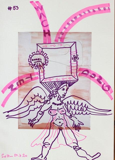Der Transformator, 30,5 x 22,7 cm, Marker auf Katalog, Aneignung, Zeichung von Susanne Haun (c) VG Bild-Kunst, Bonn 2020