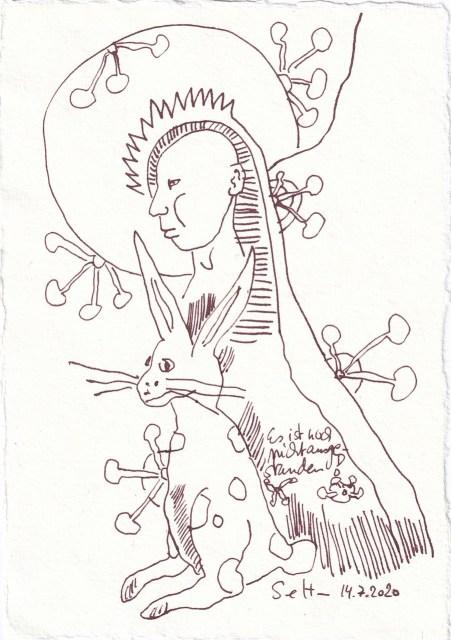 Tagebucheintrag 14.7.2020, Es ist noch nicht ausgestanden, 20 x 15 cm, Tinte und Buntstift auf Silberburg Büttenpapier, Zeichnung von Susanne Haun (c) VG Bild-Kunst, Bonn 2020