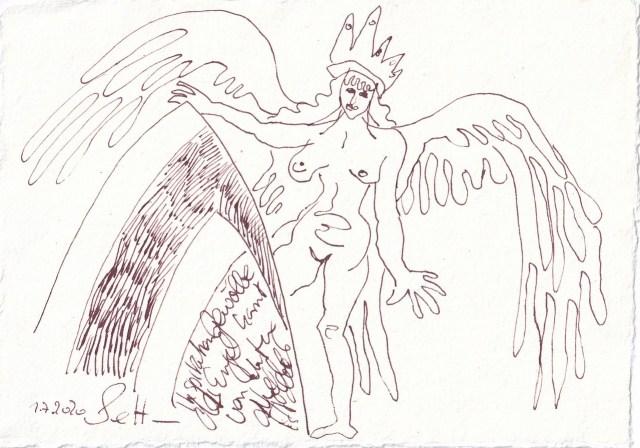 Tagebucheintrag 2.7.2020, Das Gewölbe der Engel, 20 x 15 cm, Tinte und Buntstift auf Silberburg Büttenpapier, Zeichnung von Susanne Haun (c) VG Bild-Kunst, Bonn 2020
