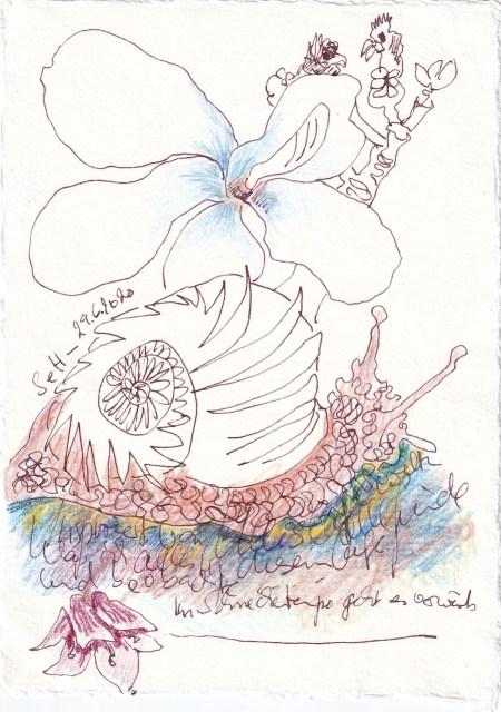Tagebucheintrag 29.6.2020, Im Schneckentempo, 20 x 15 cm, Tinte und Buntstift auf Silberburg Büttenpapier, Zeichnung von Susanne Haun (c) VG Bild-Kunst, Bonn 2020