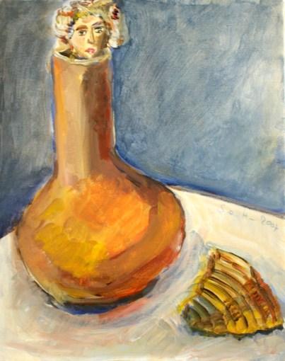 Im Herbst aus der Vase geschaut, 30 x 24 cm, Acryl und Tusche auf Leinwand, Gemälde von Susanne Haun (c) VG Bild- Kunst, Bonn 2020