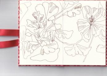 Leporello, Verso S. 3 und 4, Ginko, 17,5 x 12 cm, Zeichnung von Susanne Haun (c) VG Bild-Kunst, Bonn 2020