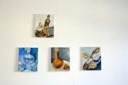 Atelieransicht m Herbst des Körpers, 30 x 24 cm, Acryl und Tusche auf Leinwand, Gemälde von Susanne Haun (c) VG Bild- Kunst, Bonn 2020