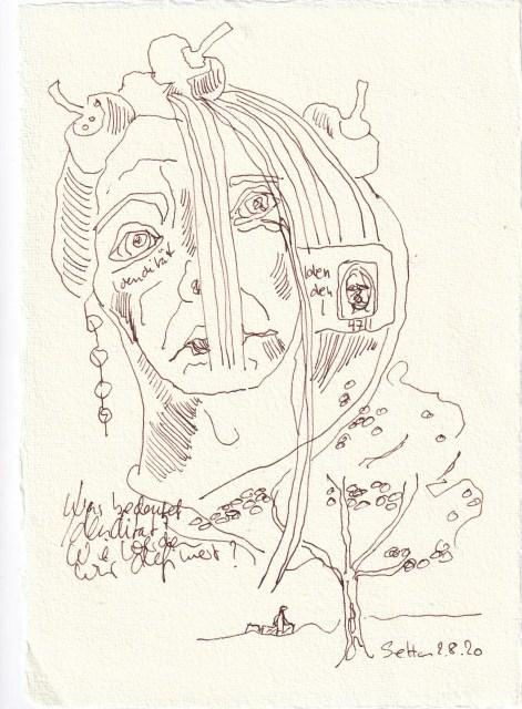 Tagebucheintrag 02.08.2020, Was bedeutet Identität, 20 x 15 cm, Tinte und Buntstift auf Silberburg Büttenpapier, Zeichnung von Susanne Haun (c) VG Bild-Kunst, Bonn 2020
