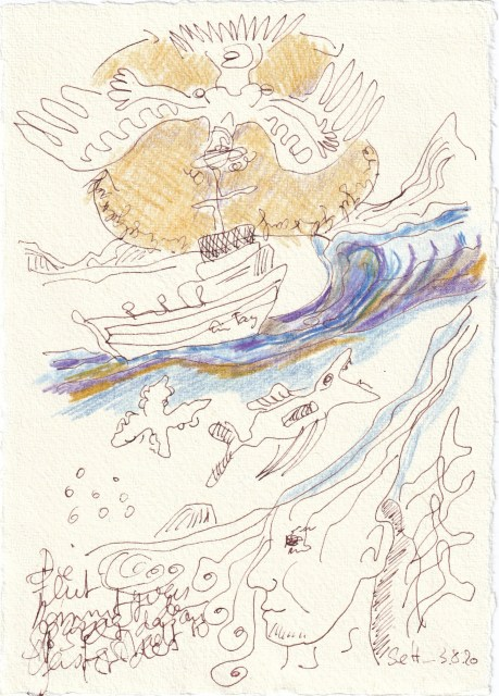 Tagebucheintrag 03.08.2020, Die Flut kommt, 20 x 15 cm, Tinte und Buntstift auf Silberburg Büttenpapier, Zeichnung von Susanne Haun (c) VG Bild-Kunst, Bonn 2020