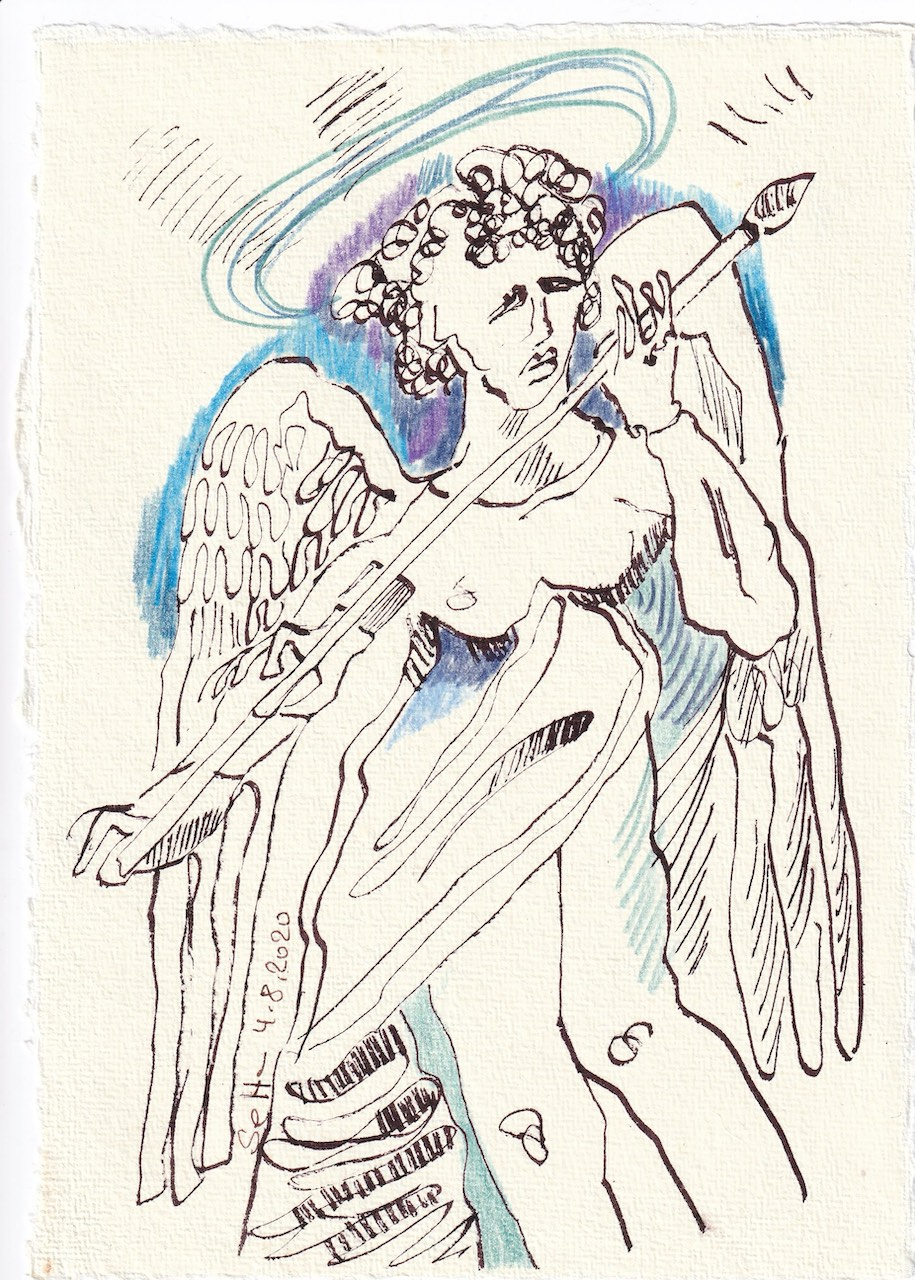 Tagebucheintrag 04.08.2020, Manchmal möchte ich einen Pfeil werfen, 20 x 15 cm, Tinte und Buntstift auf Silberburg Büttenpapier, Zeichnung von Susanne Haun (c) VG Bild-Kunst, Bonn 2020
