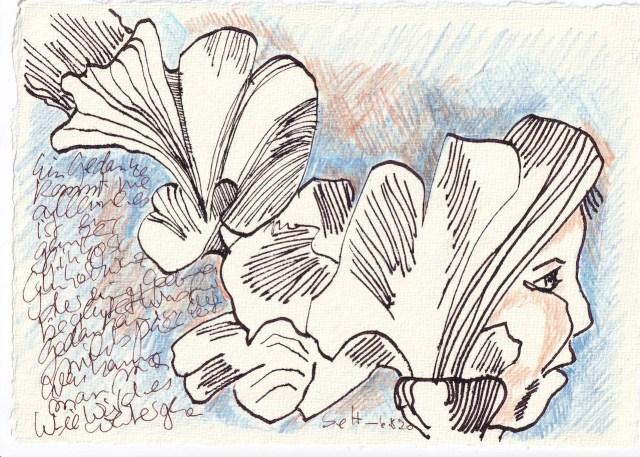 Tagebucheintrag 06.08.2020, Der Ginko zieht die gesamte Romantik hinter sich her, 20 x 15 cm, Tinte und Buntstift auf Silberburg Büttenpapier, Zeichnung von Susanne Haun (c) VG Bild-Kunst, Bonn 2020