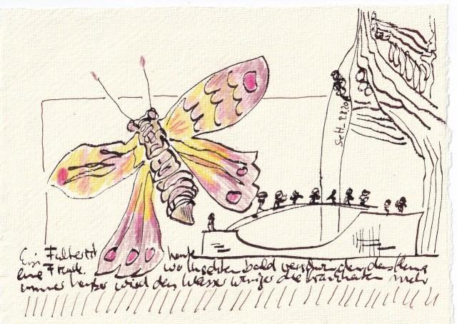 Tagebucheintrag 09.08.2020, Wo Fliegen sie hin, 20 x 15 cm, Tinte und Buntstift auf Silberburg Büttenpapier, Zeichnung von Susanne Haun (c) VG Bild-Kunst, Bonn 2020