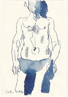 Tagebucheintrag 11.08.2020,Mann, 20 x 15 cm, Tinte und Buntstift auf Silberburg Büttenpapier, Zeichnung von Susanne Haun (c) VG Bild-Kunst, Bonn 2020
