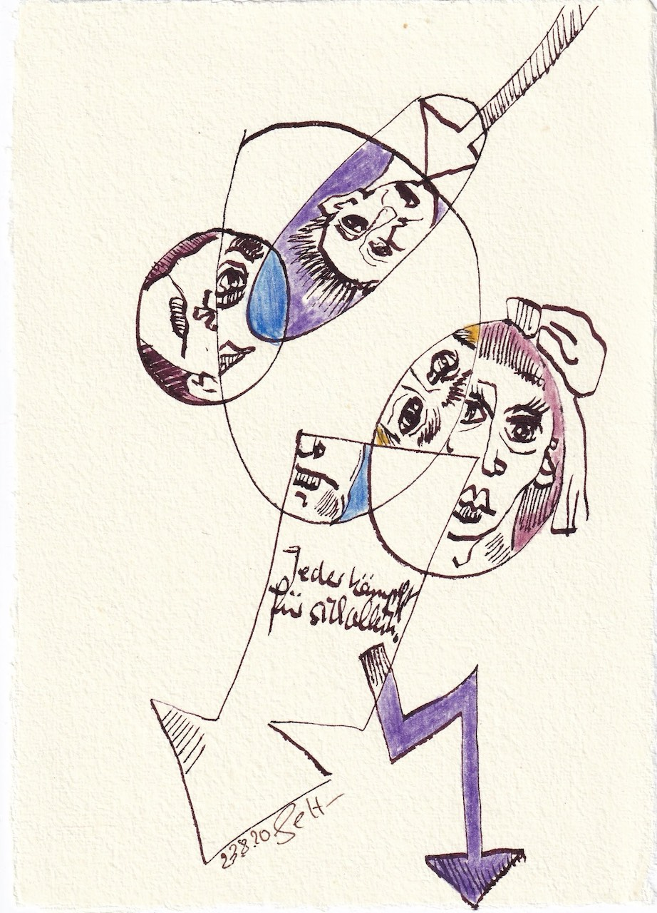 Tagebucheintrag 23.08.2020, Jeder kämpft für sich allein, 20 x 15 cm, Tinte und Buntstift auf Silberburg Büttenpapier, Zeichnung von Susanne Haun (c) VG Bild-Kunst, Bonn 2020