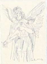 Tagebucheintrag 05.09.2020, Zeigeengel, 20 x 15 cm, Tinte und Buntstift auf Silberburg Büttenpapier, Zeichnung von Susanne Haun (c) VG Bild-Kunst, Bonn 2020