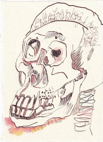 Tagebucheintrag 08.09.2020, Das Blatt reicht nicht, den Tod darzustellen, 20 x 15 cm, Tinte und Buntstift auf Silberburg Büttenpapier, Zeichnung von Susanne Haun (c) VG Bild-Kunst, Bonn 2020
