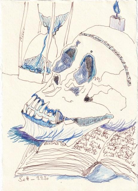 Tagebucheintrag 09.09.2020, Sein oder Nicht sein mit Kerze, 20 x 15 cm, Tinte und Buntstift auf Silberburg Büttenpapier, Zeichnung von Susanne Haun (c) VG Bild-Kunst, Bonn 2020