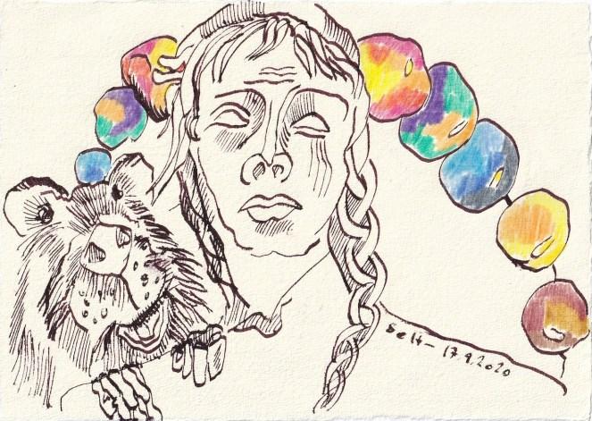 Tagebucheintrag 17.09.2020, Über die Schulter geschaut, 20 x 15 cm, Tinte und Buntstift auf Silberburg Büttenpapier, Zeichnung von Susanne Haun (c) VG Bild-Kunst, Bonn 2020