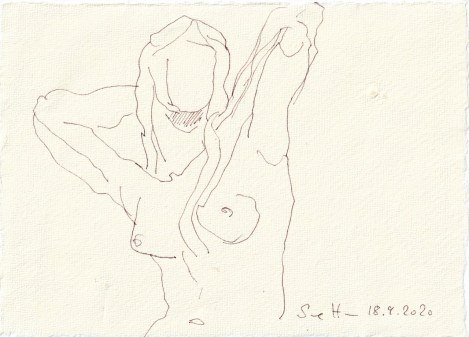 Tagebucheintrag 18.09.2020, Klassischer Akt, 20 x 15 cm, Tinte und Buntstift auf Silberburg Büttenpapier, Zeichnung von Susanne Haun (c) VG Bild-Kunst, Bonn 2020