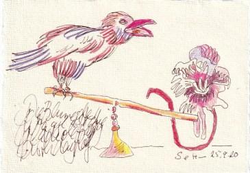 Tagebucheintrag 25.09.2020, Die Waage zeigt, dass die Gladiole schwerer ist, 20 x 15 cm, Tinte und Buntstift auf Silberburg Büttenpapier, Zeichnung von Susanne Haun (c) VG Bild-Kunst, Bonn 2020