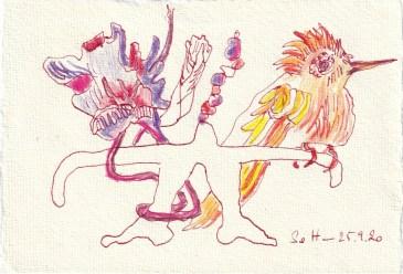 Tagebucheintrag 25.09.2020, Die Wage ist austariert, 20 x 15 cm, Tinte und Buntstift auf Silberburg Büttenpapier, Zeichnung von Susanne Haun (c) VG Bild-Kunst, Bonn 2020