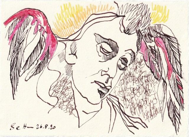 Tagebucheintrag 26.08.2020, Kopfüber stürzen die Engel in die Hölle, 20 x 15 cm, Tinte und Buntstift auf Silberburg Büttenpapier, Zeichnung von Susanne Haun (c) VG Bild-Kunst, Bonn 2020