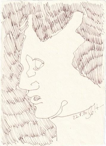 Tagebucheintrag 27.08.2020, Gebrochen, 20 x 15 cm, Tinte und Buntstift auf Silberburg Büttenpapier, Zeichnung von Susanne Haun (c) VG Bild-Kunst, Bonn 2020