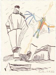Tagebucheintrag 30.08.2020, Up to the Stars, 20 x 15 cm, Tinte und Buntstift auf Silberburg Büttenpapier, Zeichnung von Susanne Haun (c) VG Bild-Kunst, Bonn 2020