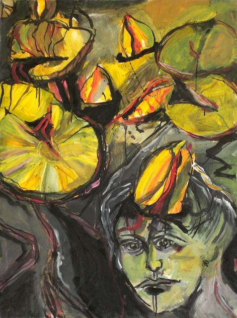 Verwunschene Prinzessin im Seerosenteich, Öl, Tusche und Acryl auf Leinwand, Gemälde von Susanne Haun (c) VG Bild-Kunst Bonn 2020