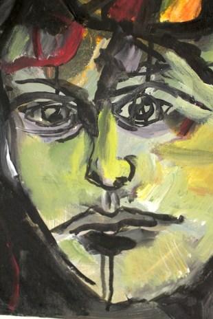 Detail Verwunschene Prinzessin im Seerosenteich, Öl, Tusche und Acryl auf Leinwand, Gemälde von Susanne Haun (c) VG Bild-Kunst Bonn 2020