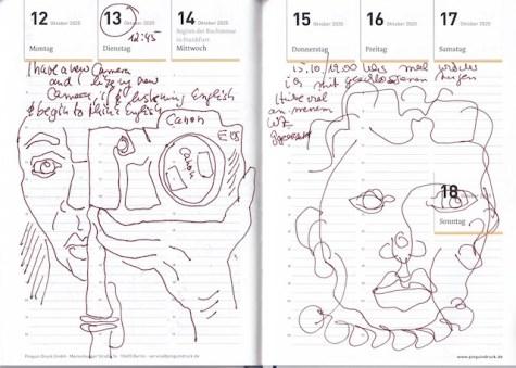 Selbstbildnisstagebuch 31.08. - 18.10.2020, Zeichnung von Susanne Haun (c) VG Bild-Kunst, Bonn 2020