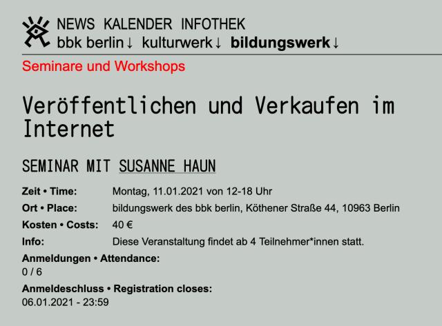 bbk Seminar mit Susanne Haun - Veröffentlichen und Verkaufen im Internet
