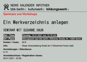 bbk Seminar mit Susanne Haun - Ein Werkverzeichnis anlegen