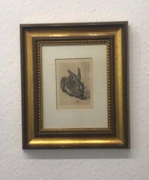 Kopie von Albrecht Dürers Hase, im goldenen Rahmen (c) Sammlerin - Susanne Haun.