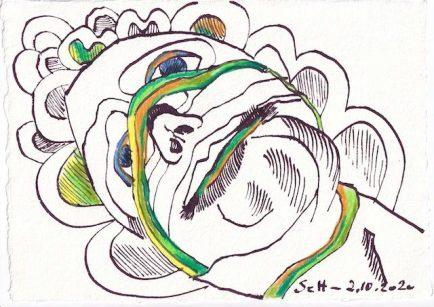 Tagebucheintrag 02.10.2020, Sie sehen weg, 20 x 15 cm, Tinte und Buntstift auf Silberburg Büttenpapier, Zeichnung von Susanne Haun (c) VG Bild-Kunst, Bonn 2020