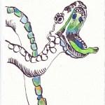 Tagebucheintrag 05.10.2020, Wer ist die Schlange, 20 x 15 cm, Tinte und Buntstift auf Silberburg Büttenpapier, Zeichnung von Susanne Haun (c) VG Bild-Kunst, Bonn 2020