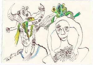 Tagebucheintrag 12.10.2020, Froschkonzert, 20 x 15 cm, Tinte und Buntstift auf Silberburg Büttenpapier, Zeichnung von Susanne Haun (c) VG Bild-Kunst, Bonn 2020
