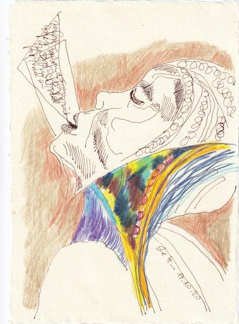 Tagebucheintrag 17.10.2020, Fläche bedeutet Arbeit, Buntstifte sind schwierig, 20 x 15 cm, Tinte und Buntstift auf Silberburg Büttenpapier, Zeichnung von Susanne Haun (c) VG Bild-Kunst, Bonn 2020