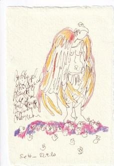 Tagebucheintrag 22.09.2020, Auch Engel sind mal traurig, 15 x 10 cm, Tinte und Buntstift auf Silberburg Büttenpapier, Zeichnung von Susanne Haun (c) VG Bild-Kunst, Bonn 2020