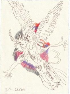Tagebucheintrag 27.09.2020, In den Sonnenuntergang, 20 x 15 cm, Tinte und Buntstift auf Silberburg Büttenpapier, Zeichnung von Susanne Haun (c) VG Bild-Kunst, Bonn 2020