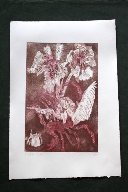 1-10, VERKAUFT :: Auch Engel lassen sich gerne tragen, 29,5 x 19,5 cm, 38,5 x 26 cm, Hahnemühle 300g, weiß matt, Kuperdruckpapier, Aquatinta von Susanne Haun