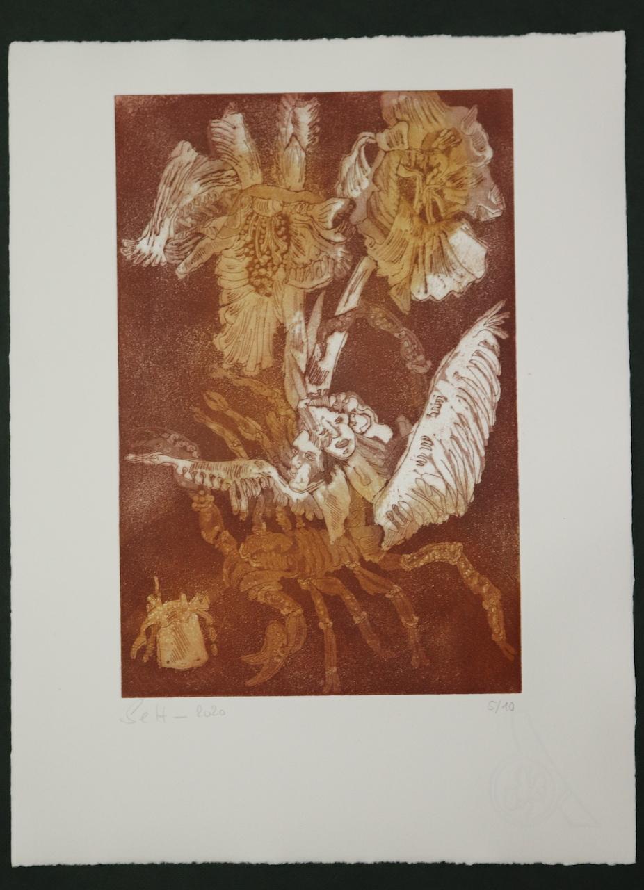 5-10, Auch Engel lassen sich gerne tragen, 29,5 x 19,5 cm, 38,5 x 26 cm, Hahnemühle 300g, weiß matt, Kuperdruckpapier, Aquatinta von Susanne Haun
