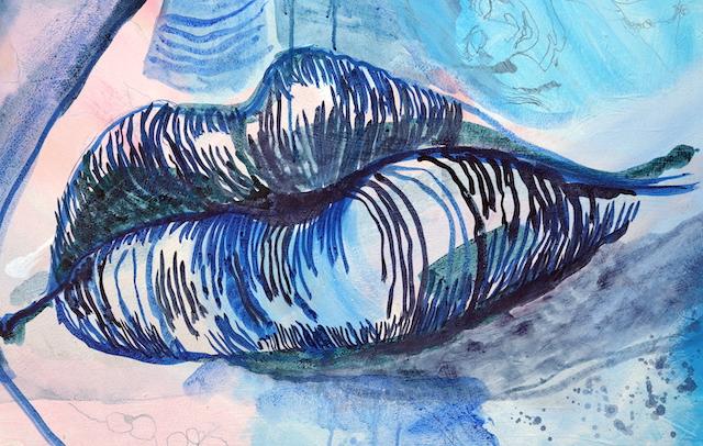 Ausschnitt - Zustand - Kuss Mund, Gemälde von Susanne Haun, Acryl und Tusche auf Leinwand, 60 x 90 cm (c) VG Bild-Kunst, Bonn 2020