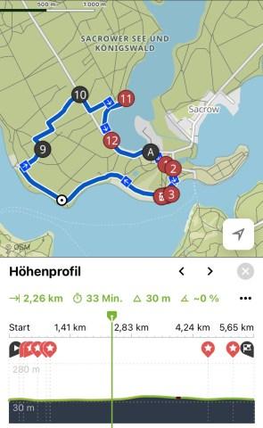 Bildschirmausdruck Komoot Wanderung Sacrow