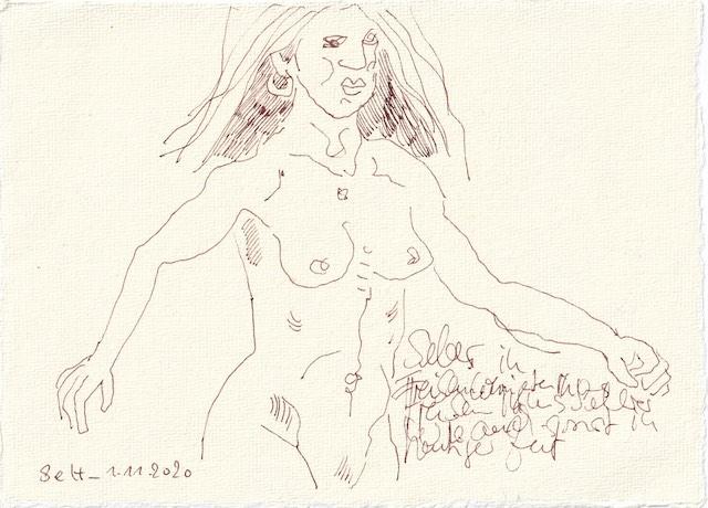 Tagebucheintrag 01.11.2020, Freiluftgalerie, 20 x 15 cm, Tinte Silberburg Büttenpapier, Zeichnung von Susanne Haun (c) VG Bild-Kunst, Bonn 2020
